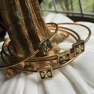 Tory Burch-4 Gold/Blue Bangle Bracelets. Size OS